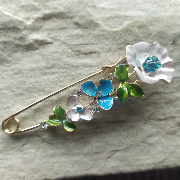 Floral Safety Pin Brooch
