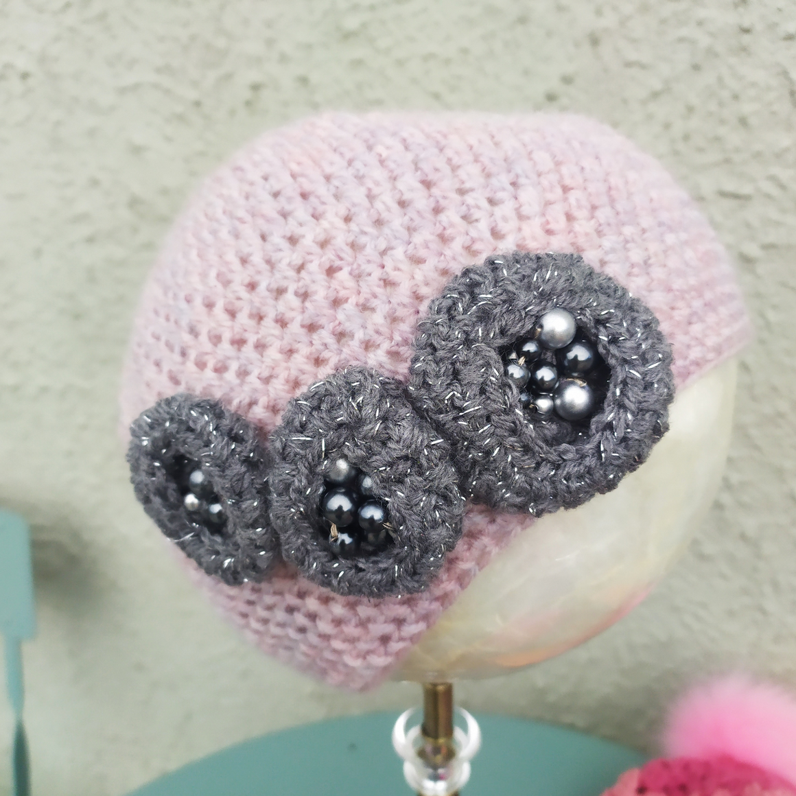 Dusty Pink hat with 3 Grey flowers and pearls - Medium