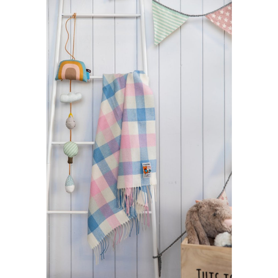 Foxford Baby Blanket Pink and Blue Check