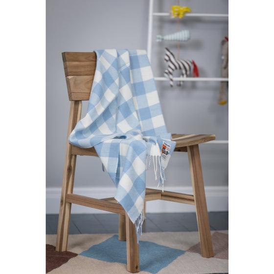 Foxford Baby Blanket Blue Check