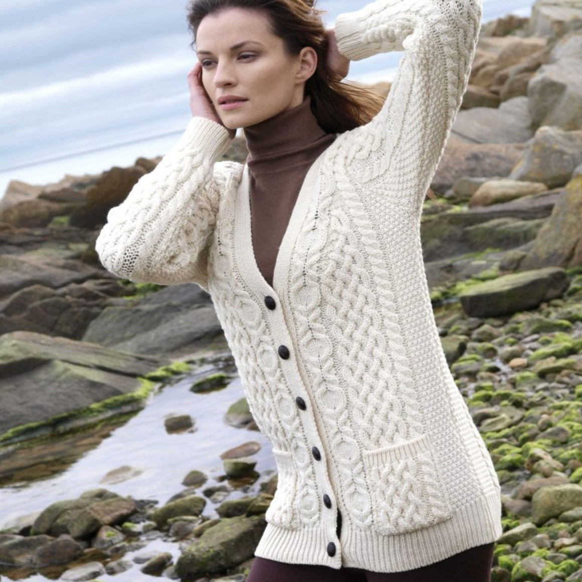 Boyfriend Traditional Aran Cardigan