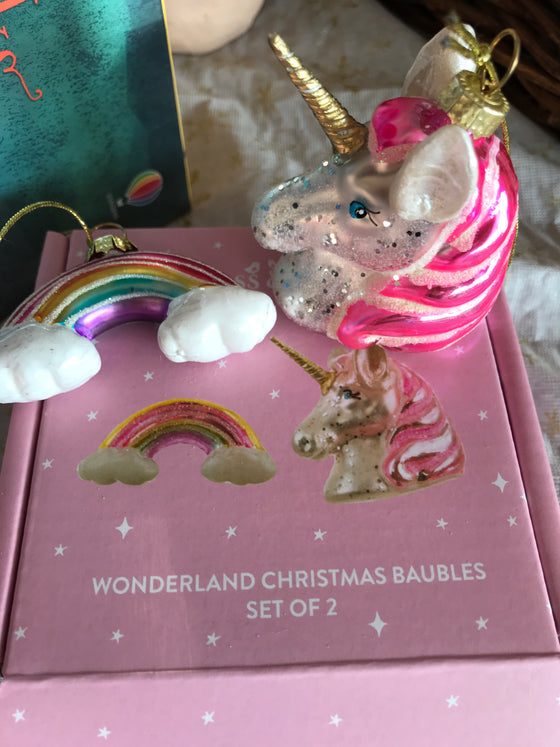 Rainbow and Unicorn Shaped Baubles Set of 2