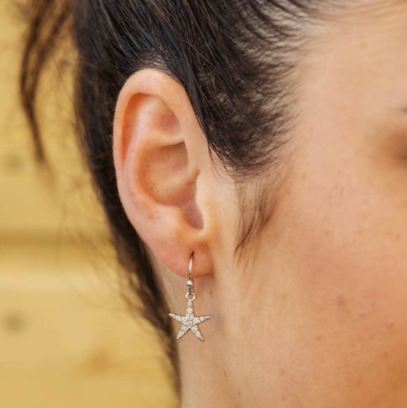 Drop Star Fish With White Crystal Swarovski® Crystals