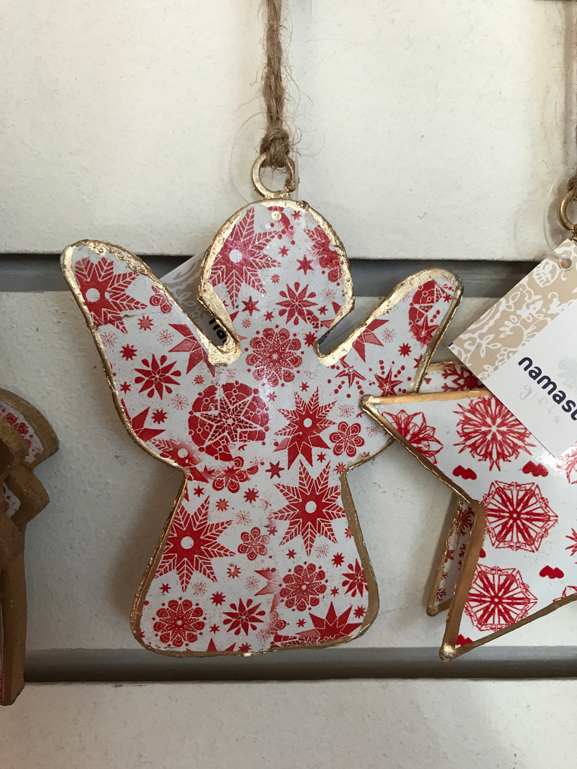 Red & White Printed Tin Angel Decoration