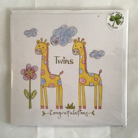 Twins congratulations hand finished card