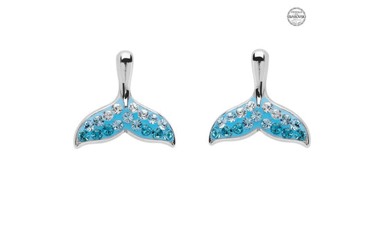 Whale Tail Aqua  Stud Earrings With Swarovski® Crystals