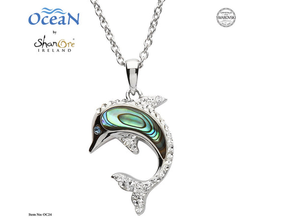 Dolphin Necklace Adorned With White Swarovski® Crystals