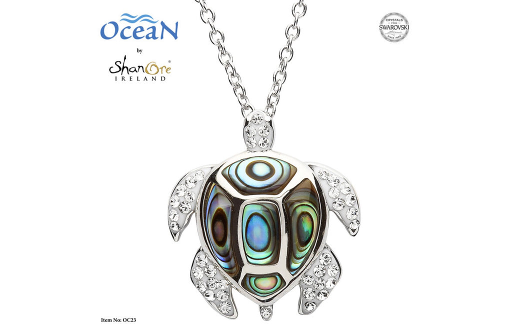 Turtle Necklace Adorned With White Swarovski® Crystals