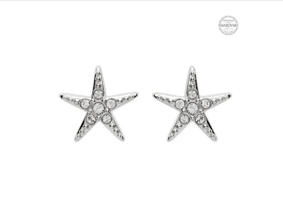 Stud Star Fish Earrings With Swarovski® Crystals