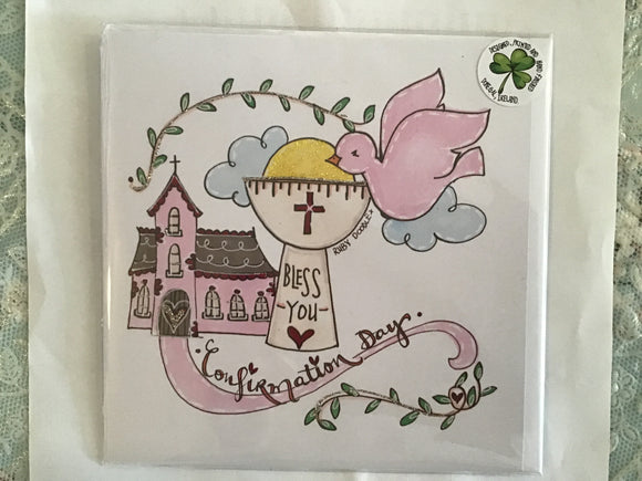 Confirmation day pink hand finished card