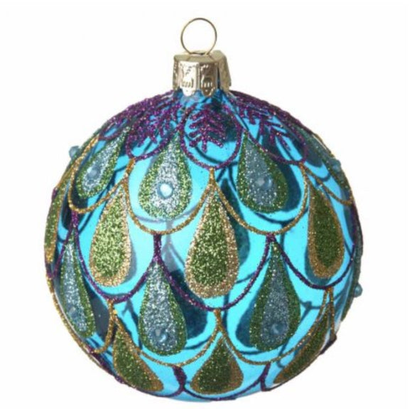 Glass Peacock Bauble