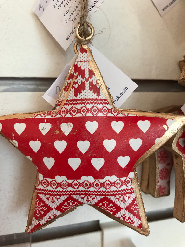 Red & White Printed Tin Star Decoration