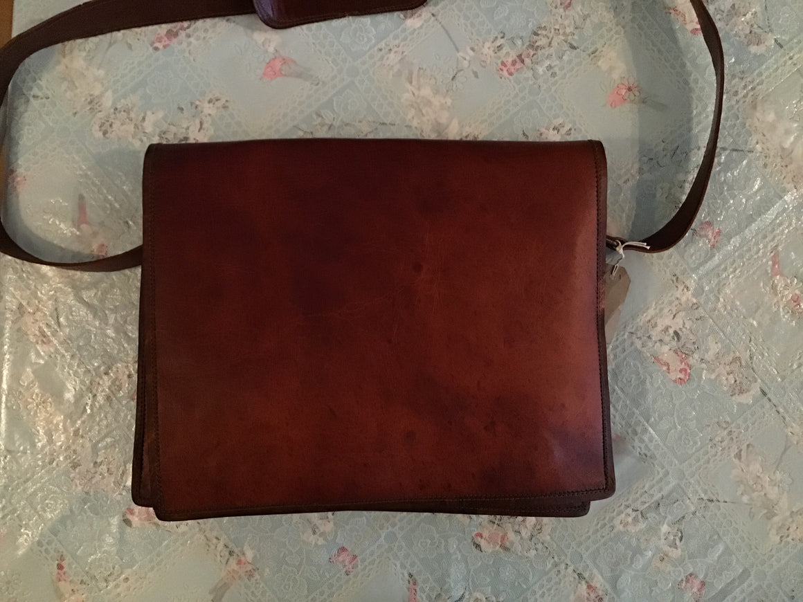 Large leather courier bag