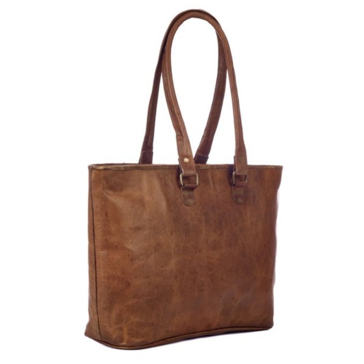 Large Leather Fair Trade Shopping Bag
