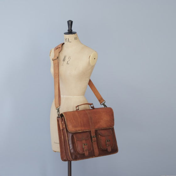 Large Brown Handmade FairTrade Leather Satchel Bag