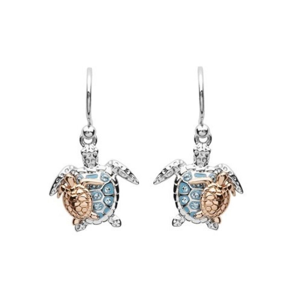 Mother & Baby Turtle Earrings With Swarovski® Crystals
