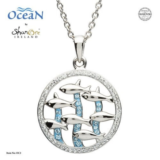 Silver Dolphin Pendant Encrusted With White And Aquamarine Swarovski Crystal