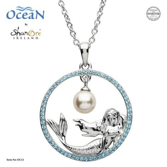 Silver Mermaid Pearl Pendant Encrusted With Aquamarine Swarovski Crystals