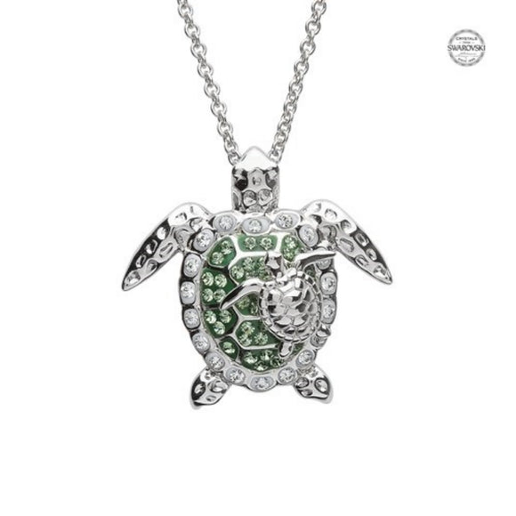 Mother & Baby Turtle Necklace With Swarovski® Crystals