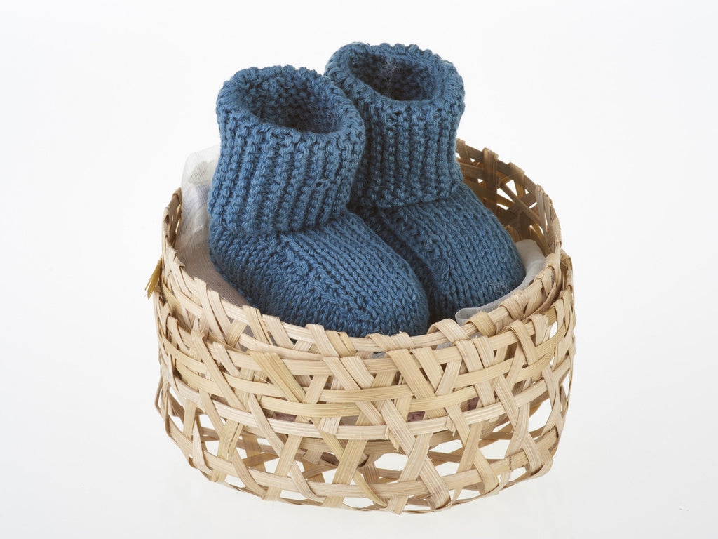 Fair Trade Organic Cotton Baby Shoes in Petrol Blue