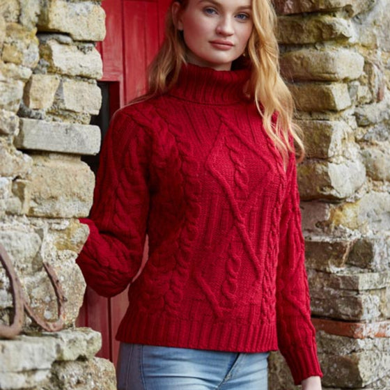 Red Turtleneck Aran Sweater