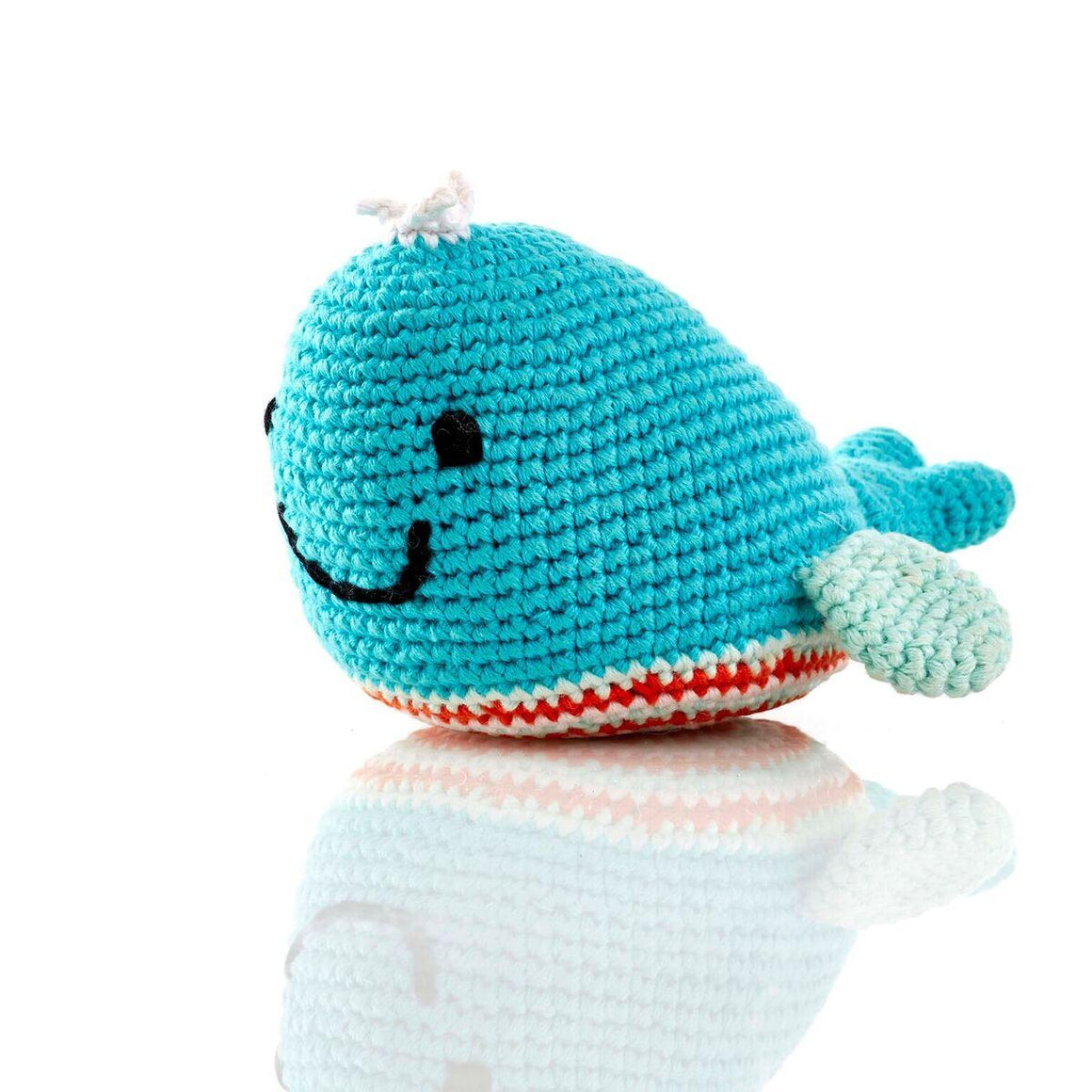 Fair Trade Crochet Cotton Blue Whale Baby Rattle