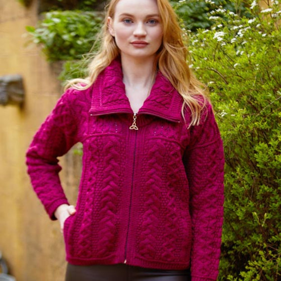 Raspberry Double Collar Zip Aran Cardigan