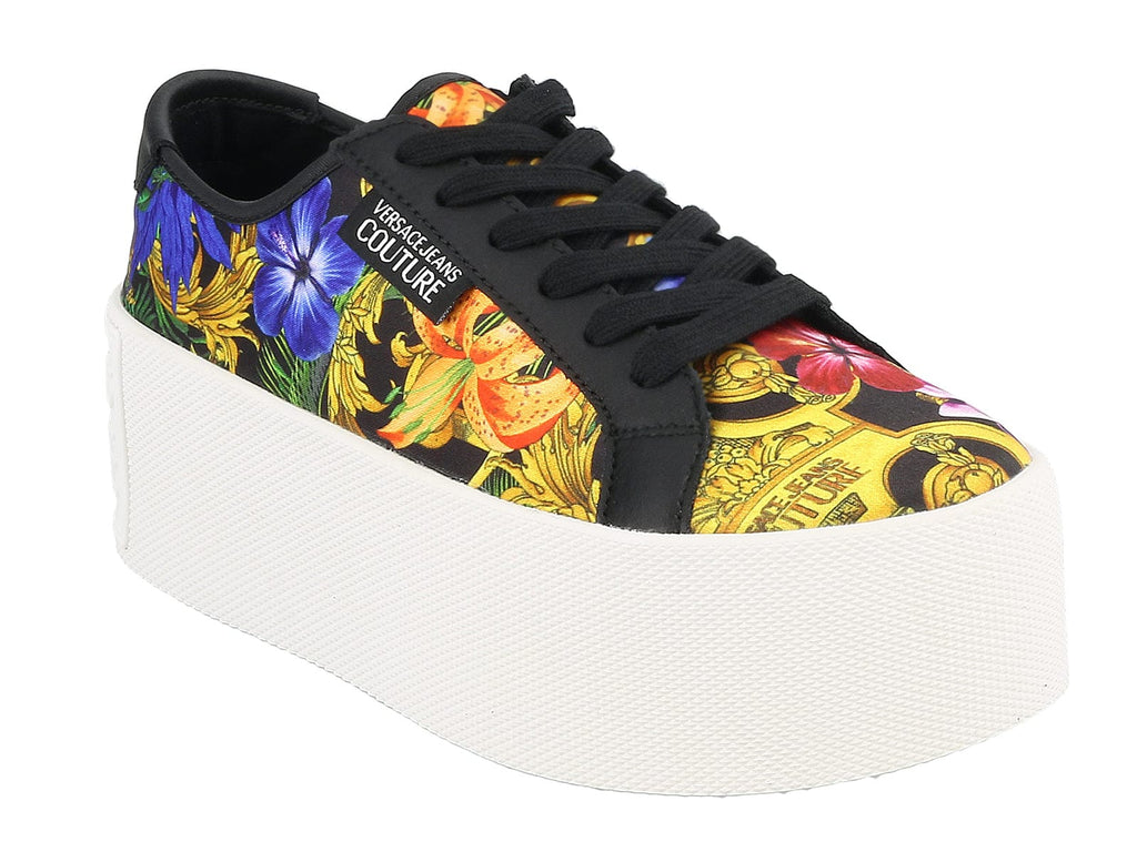 Versace Jeans Couture Black/Multi Baroque High Box Platform Sneakers-