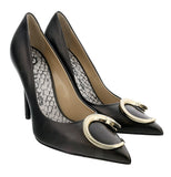 Roberto Cavalli Class  Black Leather Classic High Heel Pump Shoes-