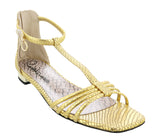 Roberto Cavalli Class  Gold Leather Classic Flat Sandal With Straps-5.5/6