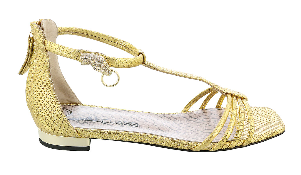 Roberto Cavalli Class  Gold Leather Classic Flat Sandal With Straps-