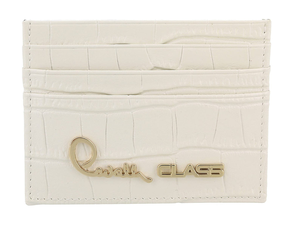 Roberto Cavalli Class White Croc Embossed Dolly Credit Card Holder at 76.18