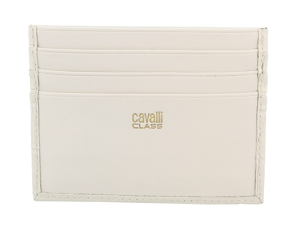 Roberto Cavalli Class White Croc Embossed Dolly Credit Card Holder at