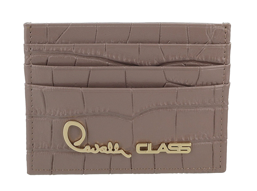 Roberto Cavalli Class Taupe Croc Embossed Dolly Credit Card Holder at 76.18