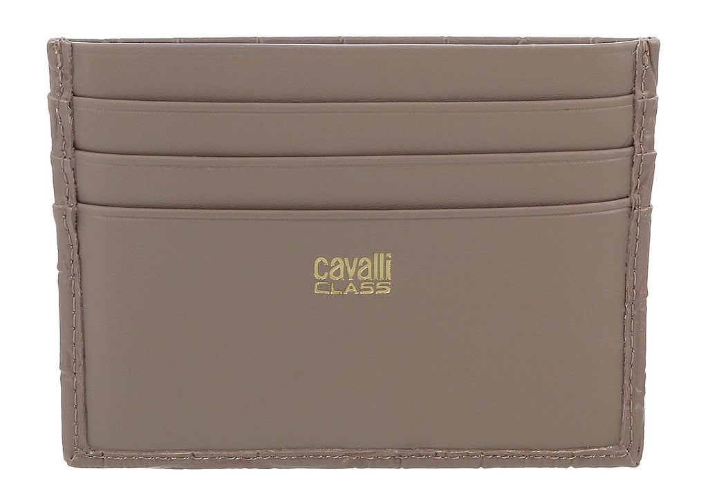 Roberto Cavalli Class Taupe Croc Embossed Dolly Credit Card Holder at