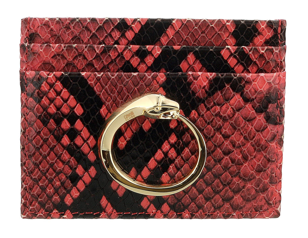 Roberto Cavalli Class Coral Millie Deluxe Snake Textured Credit Card Holder at 76.18
