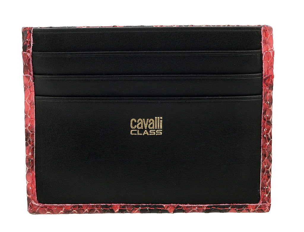 Roberto Cavalli Class Coral Millie Deluxe Snake Textured Credit Card Holder at
