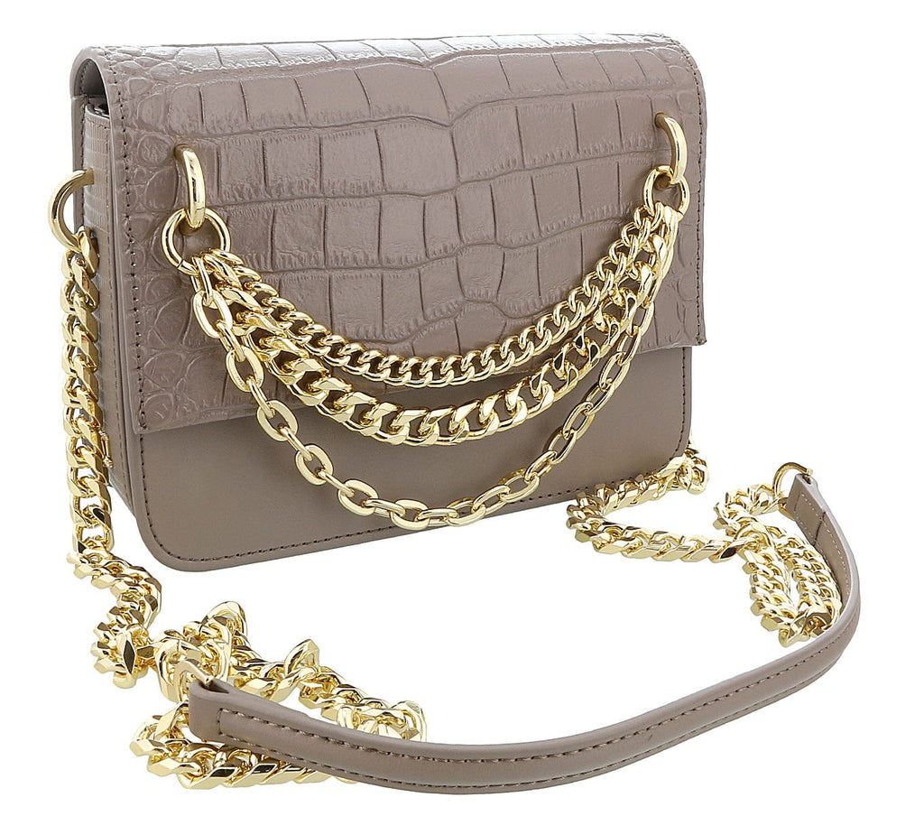 Roberto Cavalli Class Taupe Croc Embossed Medium Milano Chain Shoulder Bag at 285.70