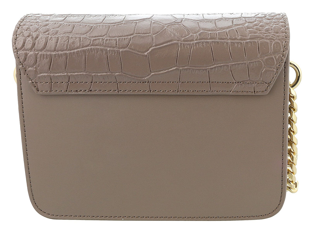 Roberto Cavalli Class Taupe Croc Embossed Medium Milano Chain Shoulder Bag at