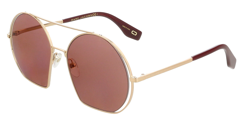 Marc Jacobs  Gold Burgundy Round Sunglasses