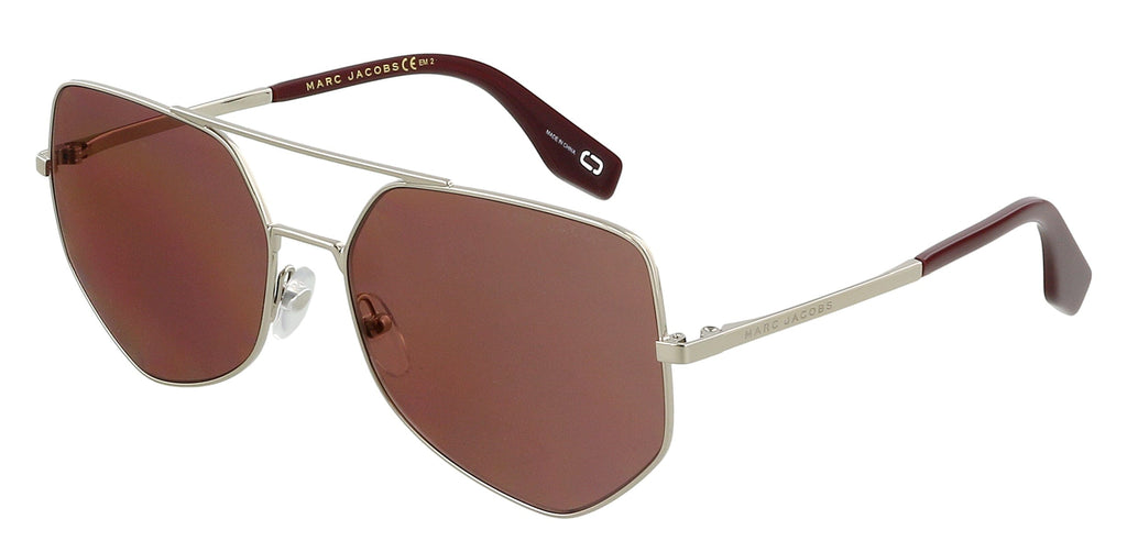 Marc Jacobs  Gold Burgundy Aviator Sunglasses