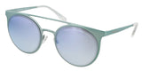 Emporio Armani  Metallized Light Blue Round Sunglasses