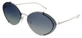 Prada  Silver/Black Oval Sunglasses