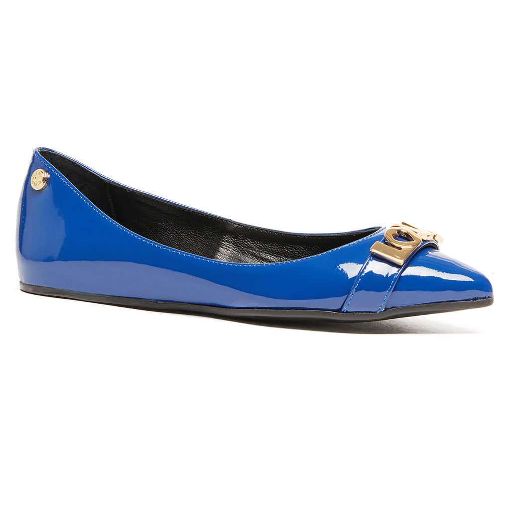 Love Moschino Blue Pointed Toe Patent Flats
