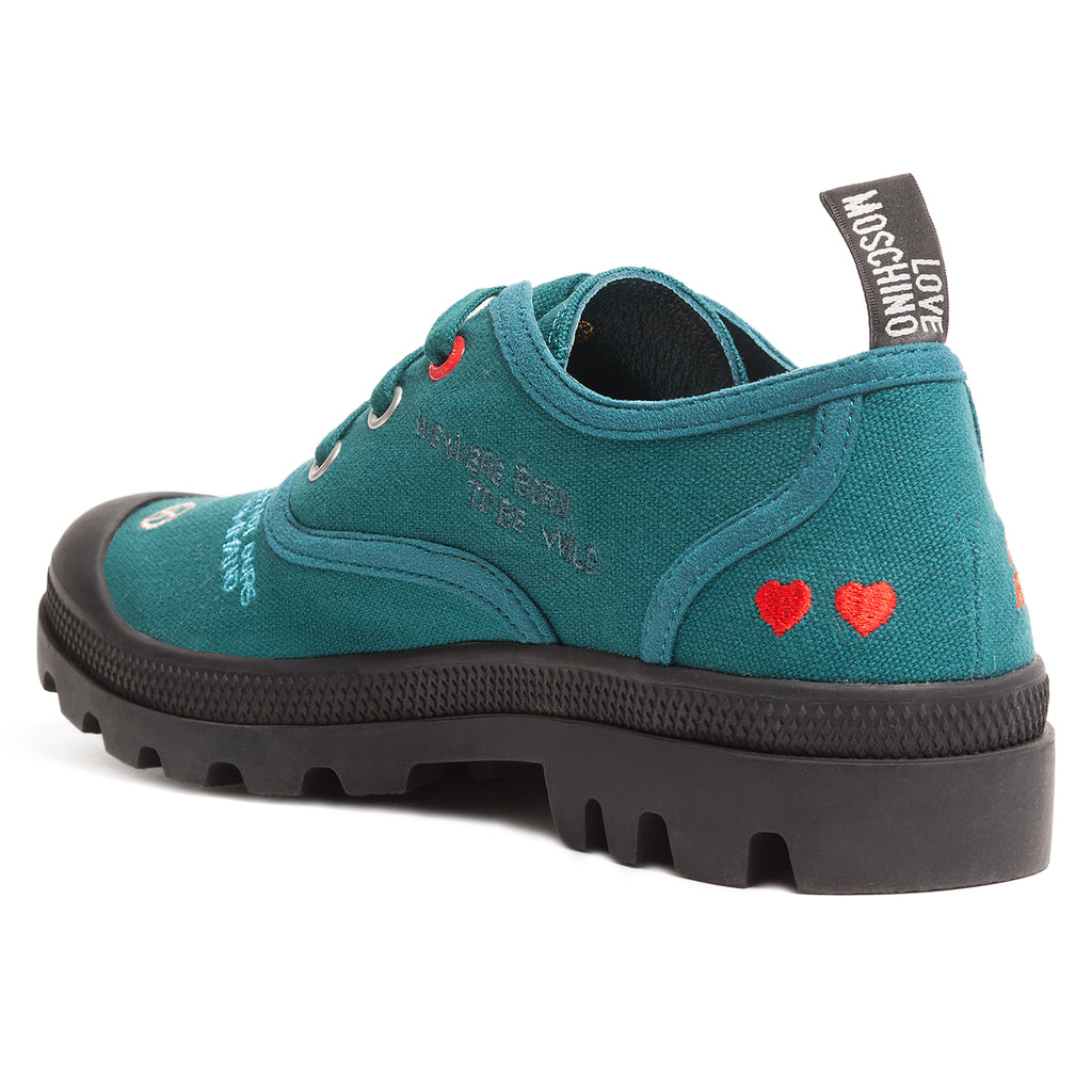 Love Moschino Petrol Lug Sole Embroidered Sneakers