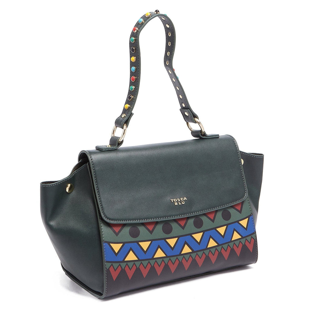 Tosca Blu Forest Green Medium Multicolor Bead Flap Shoulder Bag