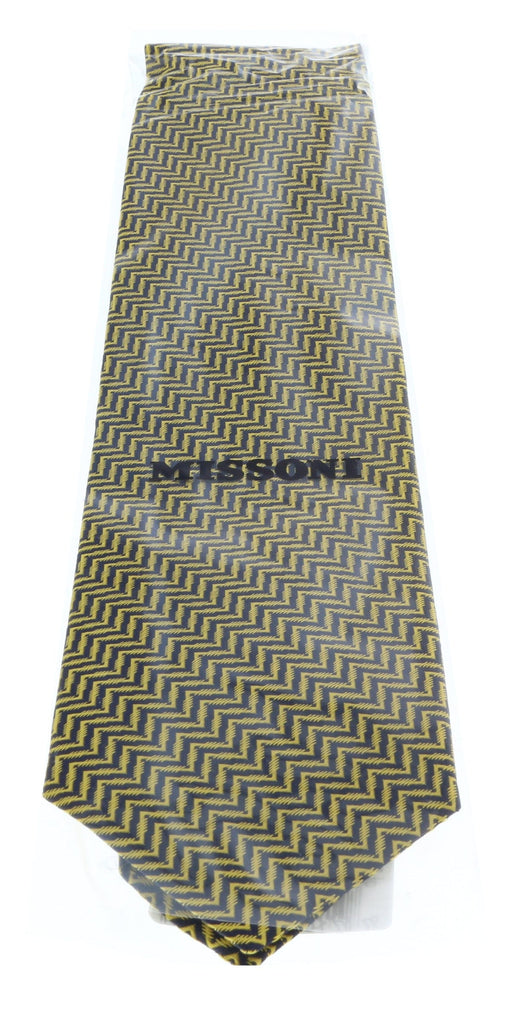Missoni U4519 Gold Herringbone 100% Silk Tie at