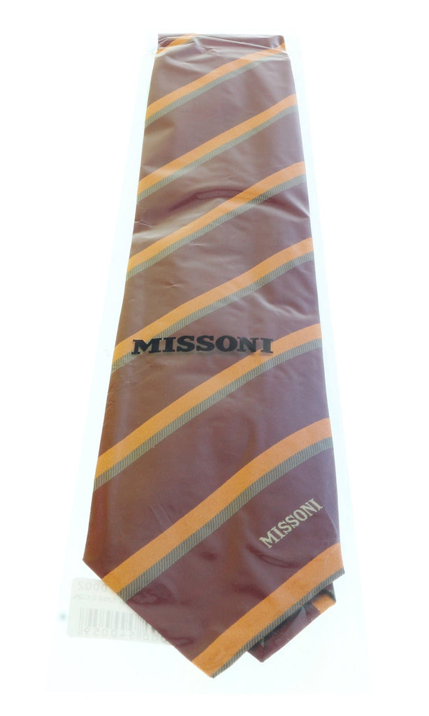 Missoni U5035 Burgundy/Orange Regimental 100% Silk Tie at