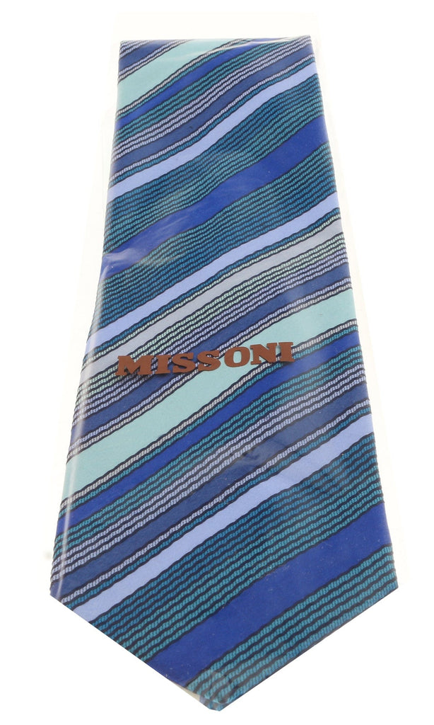 Missoni U8013 Blue/Green Pencil Stripe 100% Silk Tie at