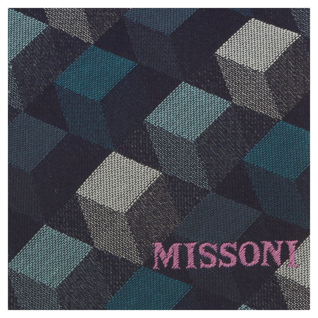 Missoni U5562 Navy/Teal Graphic 100% Silk Tie at